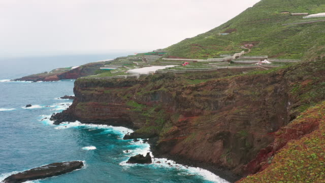AERIAL MS Cliffs and sea / Canary Islands, Spain