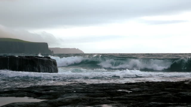 Cliffs Of Moher At Heavy Sea Cinemagraph video