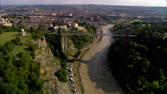 Clifton Suspension Bridge  - Aerial View - England, Bristol, United Kingdom video