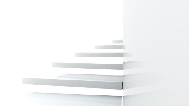 光沢のある壁、3dレンダリングの近くの螺旋階段を登ります。コンピュータ生成の抽象的な背景 - 階段点の映像素材/bロール