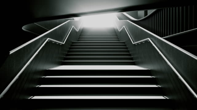 Climbing the black stairs to white light. Ambitions concept.
