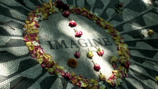 NYC 1 Clip 001-12 John Lennon memorial in Central Park in New York City central park manhattan stock videos & royalty-free footage
