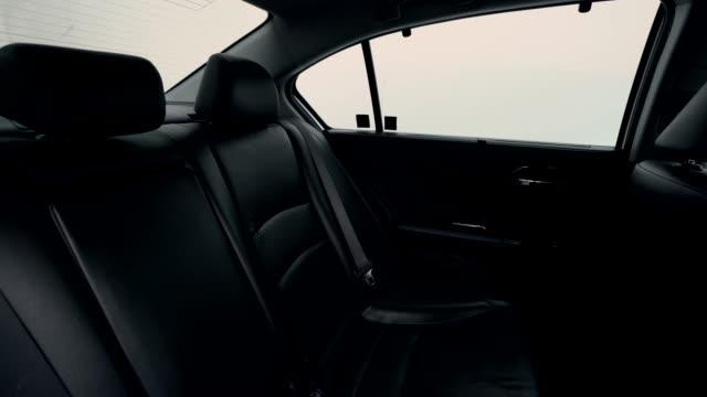 4K clip footage Interior modern car, Black leather seat inside.