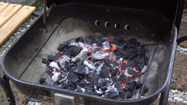 4K clip Preparing BBQ grill and glowing coals with stove oven, food and cook concept video