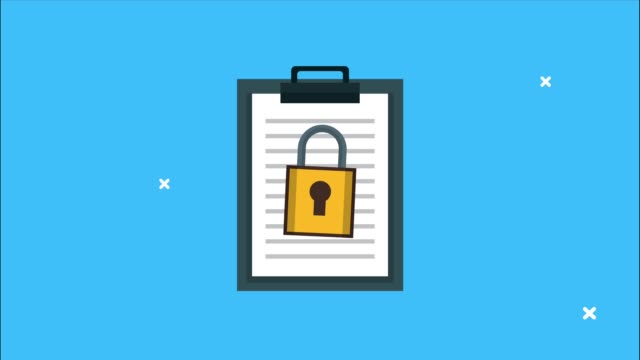 clipboard checklist and padlock security animation