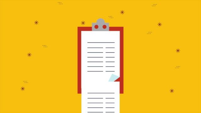 vídeos de stock, filmes e b-roll de prancheta com animação de documento checklist - questionário