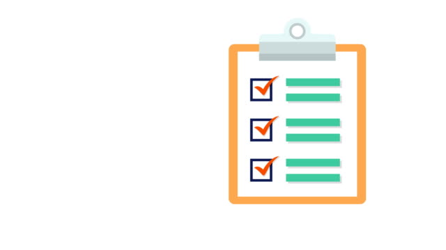 Clipboard with white document paper with a list of tick checkmarks Animation of a  clipboard with document paper listing and adding tick checkmarks survey icon stock videos & royalty-free footage