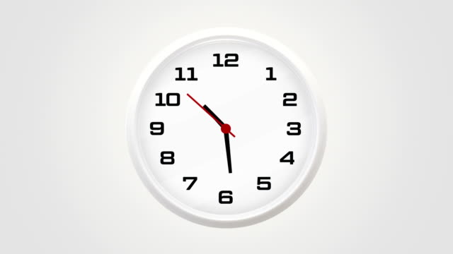 Clock 10:30 Em Clock showing 10:30 o'clock on a white wall wall clock stock videos & royalty-free footage