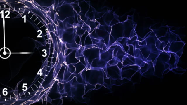 Clock and Fibers Form Ring, Time Concepts Background, Loop, 4k video