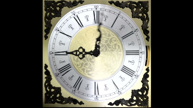 Clock face running backward at speed ornate grandfather time travel video