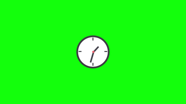 Clock icon flat design motion on green background.Icon time concept.