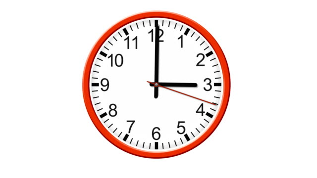 HD clock isolated on white background video