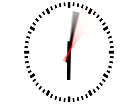 3D Clock NTSC (with alpha), timelapse 12 hours, seamless loopable video