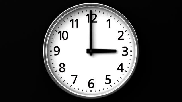 Clock On Black Wall Loop able 3DCG render Animation. wall clock stock videos & royalty-free footage