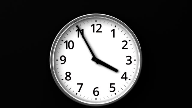 Clock On Black Wall 3DCG render Animation. wall clock stock videos & royalty-free footage