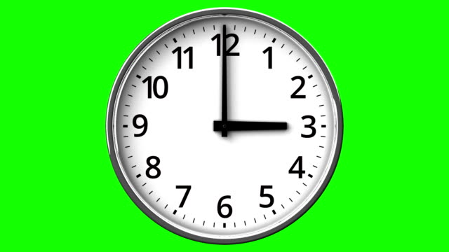Clock On Green Chroma Key Loop able 3DCG render Animation. wall clock stock videos & royalty-free footage