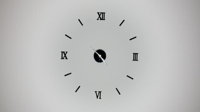 Clock on white background and movement of clock hands. Time lapse clock with three arrow hands moving fast