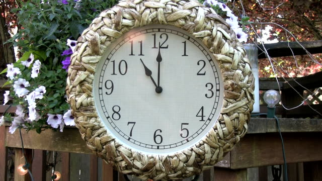 Clock outdoors on patio deck set to 11PM video