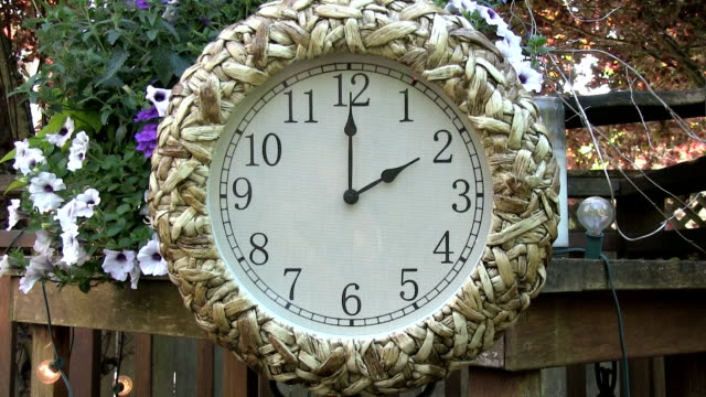 Clock outdoors on patio deck set to 2PM video