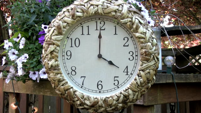 Clock outdoors on patio deck set to 4PM video