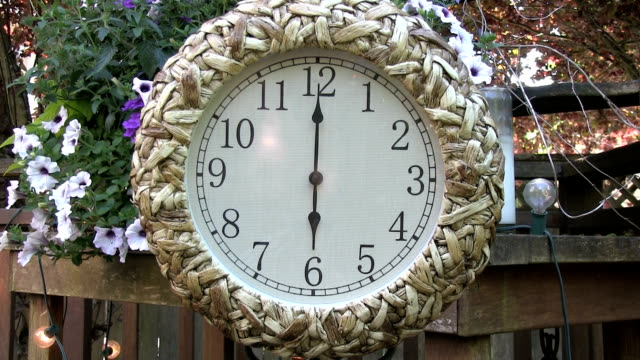 Clock outdoors on patio deck set to 6PM video