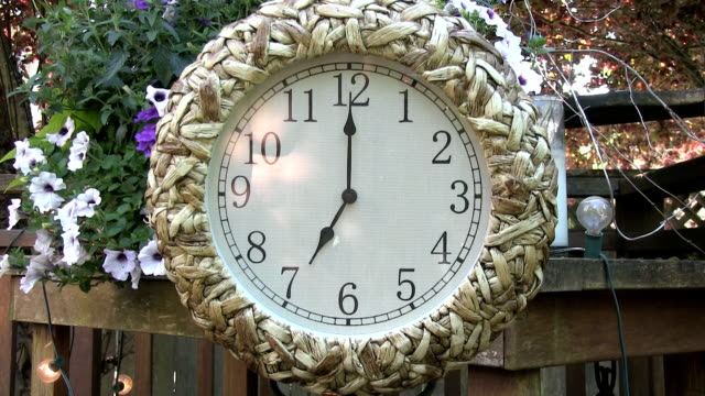 Clock outdoors on patio deck set to 7PM video