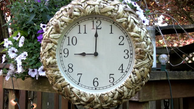 Clock outdoors on patio deck set to 9PM video