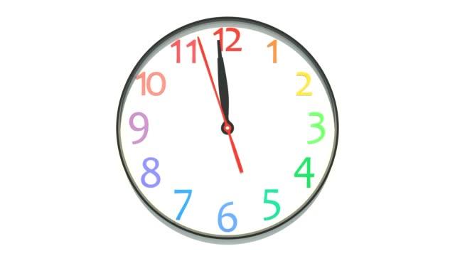 vídeos y material grabado en eventos de stock de reloj que muestra el mediodía - wall clock