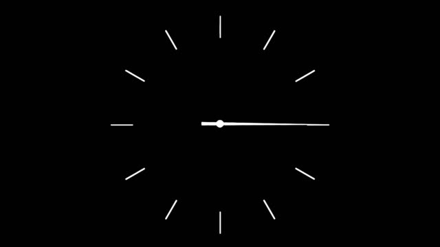 4K clock spinning, watch animation on black screen