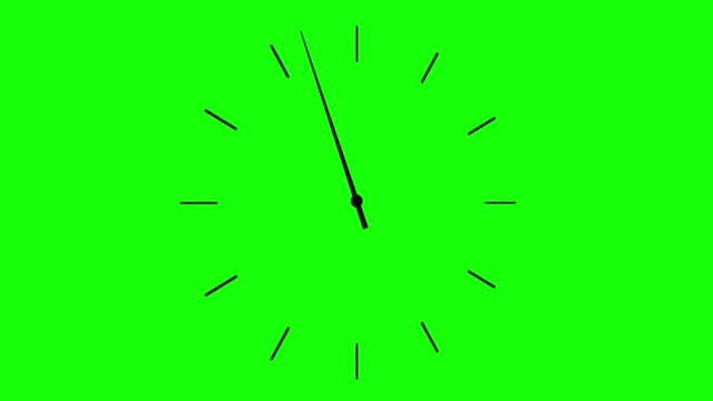 4K clock spinning, watch animation on green screen
