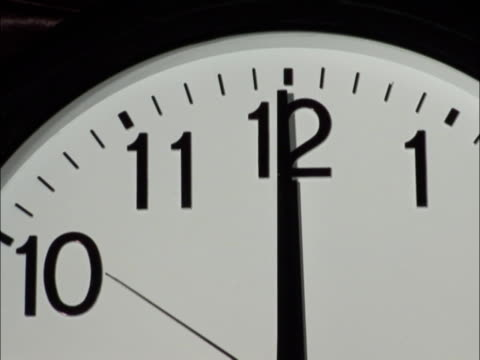 PAL: Clock strikes 12 Black and white clock strikes 12 midday stock videos & royalty-free footage