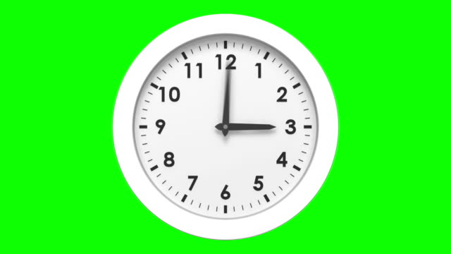 Clock ticking on green background video