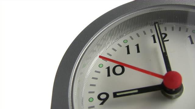 Clock ticking to nine macro close up of clock face with second hand ticking to nine o'clock wall clock stock videos & royalty-free footage