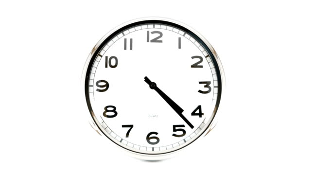 Clock time lapse Flowing time captured in a wall clock. Isolated on white. 25 fps, 1080p. wall clock stock videos & royalty-free footage