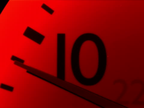 Clock Time Ten NTSC This footage is of a Red Clock with the sendond hand ticking through the ten. NTSC Format daylight savings stock videos & royalty-free footage