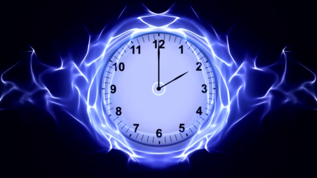 Clock, Time Travel in Fibers Ring, Rendering, Animation, Background, Loop video