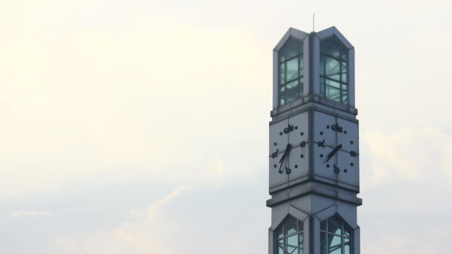 Clock tower in morning against blue sky,time lapse video