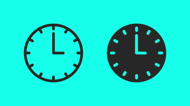 clock - vector animate - icons стоковые видео и кадры b-roll