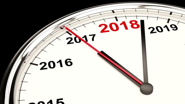 vídeos de stock, filmes e b-roll de relógio de 2018 - calendário