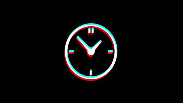 klocka klocka ikon vintage ryckte dålig signal animation. - alarm clock bildbanksvideor och videomaterial från bakom kulisserna