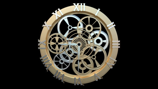 clock with rotating gears and arrows video