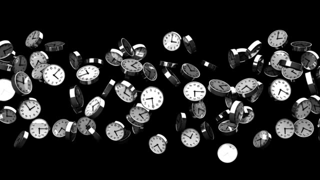 Clocks On Black Background Loop able 3DCG render Abstract Animation. large group of objects stock videos & royalty-free footage