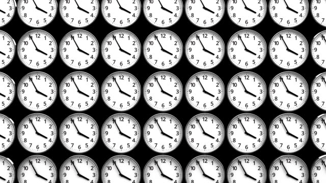 Clocks On Black Background_Zoom Abstract 3DCG render Animation. wall clock stock videos & royalty-free footage