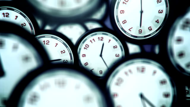Clocks Running Fast - Loop Animated loop of multiple clocks running a lot faster than usual. Useful as a visual metaphor for time running out, fast progression, modern life or chaotic and confusing time schedules. Created in After Effects. instrument of time stock videos & royalty-free footage