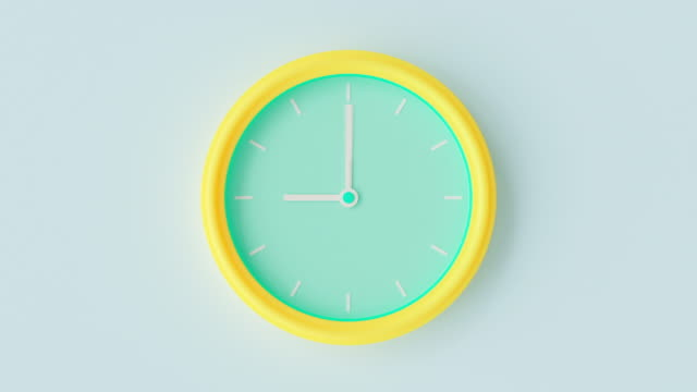 Clocks yellow-green pastel color time-lapse.