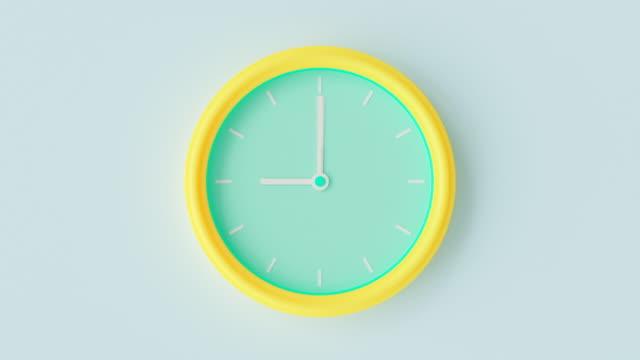 시계 노란색 - 녹색 파스텔 색상 시간 경과. - clock 스톡 비디오 및 b-롤 화면