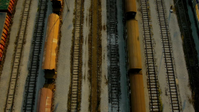 Close Aerial plan view of train wagons depot video