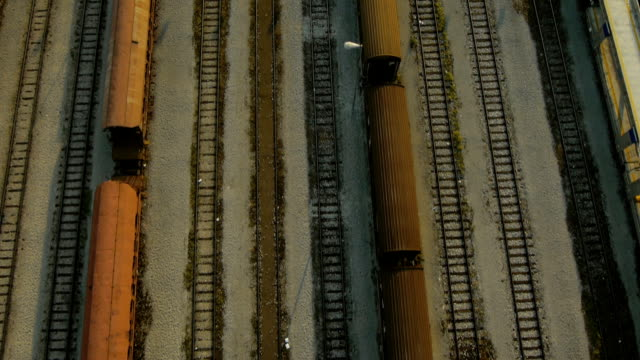 Close Aerial view of Cargo train depot video