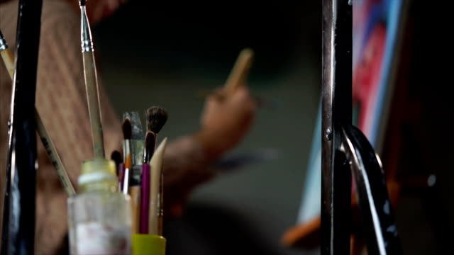 Close look at the art supplies of an talanted painter. video