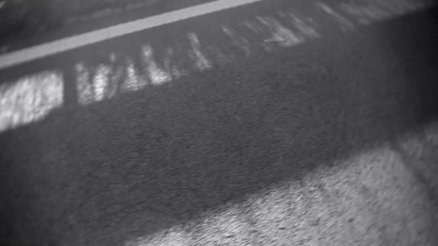 Close look to road markings in motion